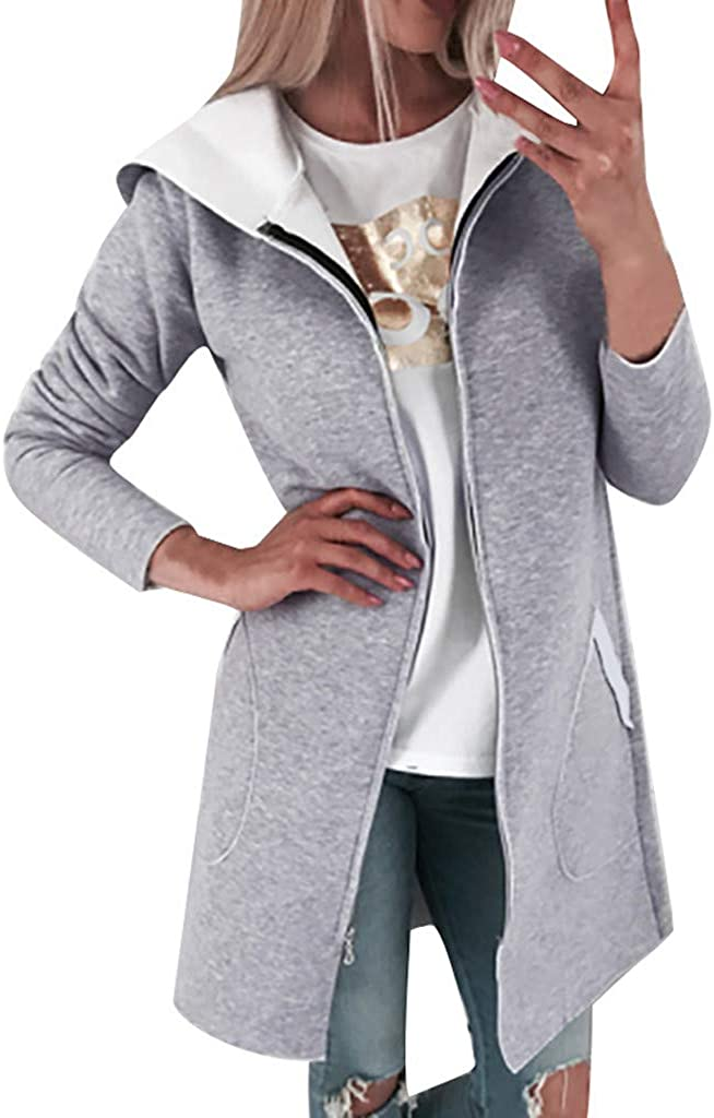 AKIMPE Womens Causal Jacket Zip up Trench Coat Hooded Classic Sweatshirt Lightweight Top Slim Utility Outwear