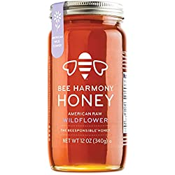 Bee Harmony American Raw Wildflower Honey, 12 Ounce