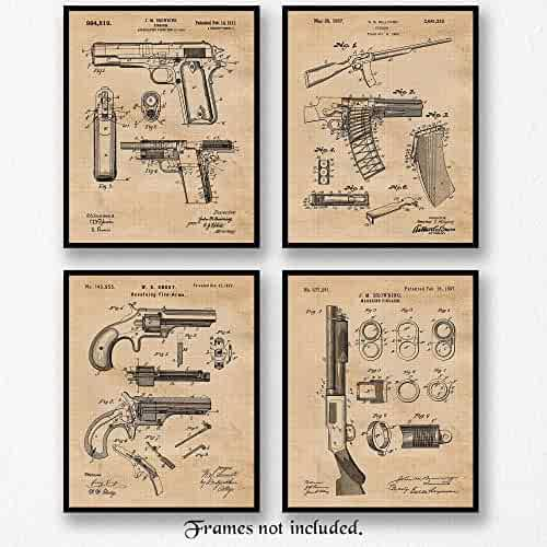 Original Remington Guns Patent Art Poster Prints - Set of 4 (Four Photos) 8x10 Unframed - Great Wall Art Decor Gift for Home, Office, Studio, Garage, Man Cave, Student, NRA Fan, Collector, Owner, Shop