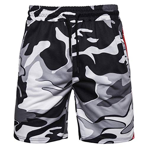 iLXHD Men's Board Shorts Camouflage Cotton Athletic Performance Shorts Overalls Shorts Pants