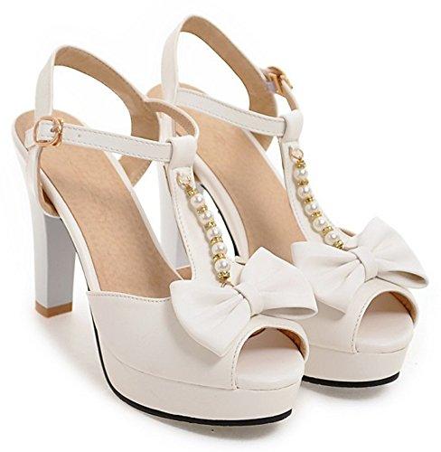 Aisun Womens Trendy Beaded Chunky High Heel Peep Toe Buckled Dressy Ankle T Strap Platform Sandals With Bow White kcbjFzYSf