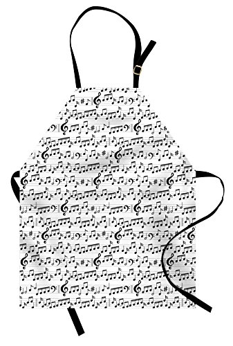 Ambesonne Music Apron, Abstract Style Professional Music Pattern with Notes and Clef Sheet Play Writing, Unisex Kitchen Bib Apron with Adjustable Neck for Cooking Baking Gardening, Black White