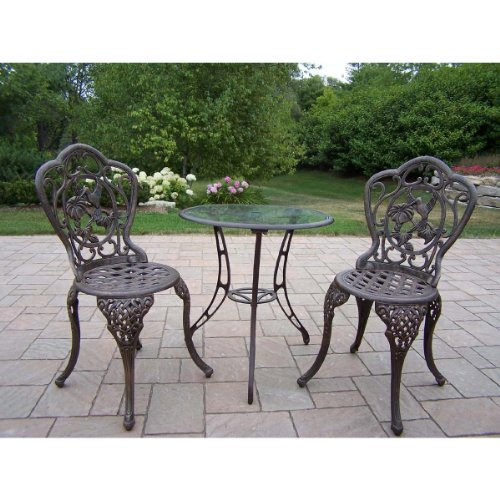 Oakland Living Hummingbird Cast Aluminum 24-Inch Glass Top Table with 3-Piece Bistro Set, Antique (Hummingbird Cast)