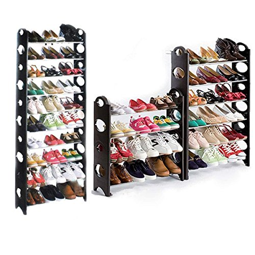 Hotouch Round-Shaped Free Standing 10 Tier Shoe Tower Rack from fasine