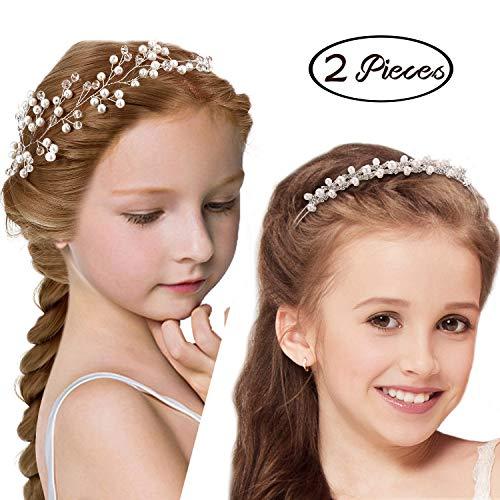 2 Pieces Flower Girl Headpiece Faux Pearl Crown Headband Bridal Branch Crystal Bead Headband Vine Hair Pieces for Girls Wedding and Flower Girls Wedding