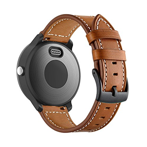 (BIGTANG Compatible for Garmin Vivoactive 3 Watch Band, 20mm Genuine Leather Watch Strap for Garmin Forerunner 645/Forerunner 245/Samsung Galaxy 42mm/Galaxy Watch Active 40mm Smart Watch - Brown)