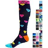 A-Swift Compression Socks for Women & Men - Hearts, Large