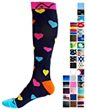 A-Swift Compression Socks for Women & Men - Hearts, Small