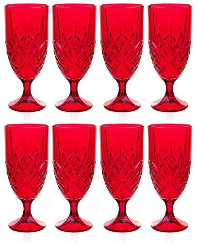 Godinger Dublin Red Crystal Iced Beverage Glasses, Set of 8 (Eight), Ruby - Water Glass Ruby