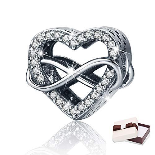 Love Charm Symbol - BAMOER 925 Sterling Silver Eternity Love Heart Pave CZ Charms Beads fit Women Bracelets Jewelry