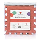 Blocking Mats for Knitting Set, Extra Thick .78 inch, Steam and Wet Block, Durable, Storage Bag Included, Easy to Use, Easy to Store (Coral)