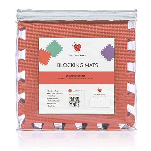 Blocking Mats for Knitting Set, Extra Thick .78 inch, Steam and Wet Block, Durable, Storage Bag Included, Easy to Use, Easy to Store (Coral) by Knittin' Love