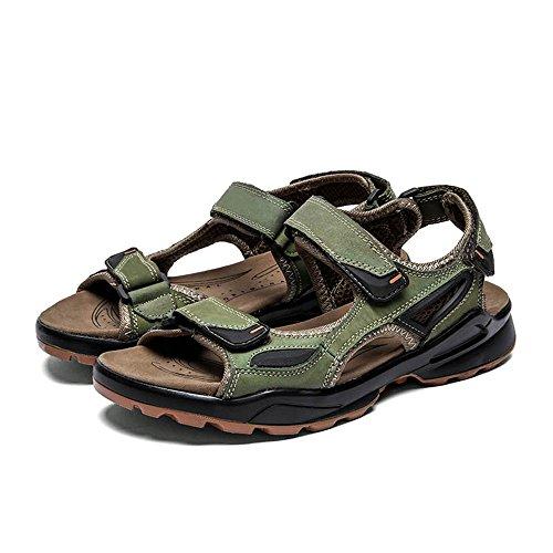 Sandali traspiranti in da Sandali Qingqing Size Color spiaggia Sandali 42 Khaki estive regolabili antiscivolo da sudore pelle Pantofole da chiusi pelle assorbenti uomo uomo EU Khaki in I6pqpw5