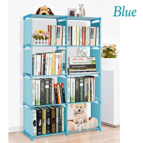4 Tier Storage Cube Wardrobe Closet Bookcase Storage Bookshelf DIY 8 Grid Cabinet Organizer (US Stock) (Blue)