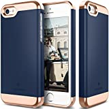 iPhone 5S Case, Caseology® [Savoy Series] Chrome / Microfiber Slider Case [Navy Blue] [Premium Rose Gold] for Apple iPhone 5S - Navy Blue