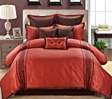 red and chocolate bedding - 13 Piece Queen Grenoble Red/Chocolate Bed in a Bag Set