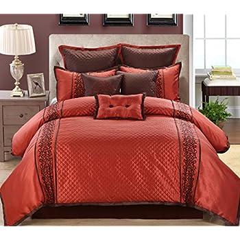9 Piece Queen Grenoble Red/Chocolate Comforter Set