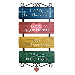 Inspirational Religious Sayings Love Joy Peace Distressed Wall Art, Multi, Wood