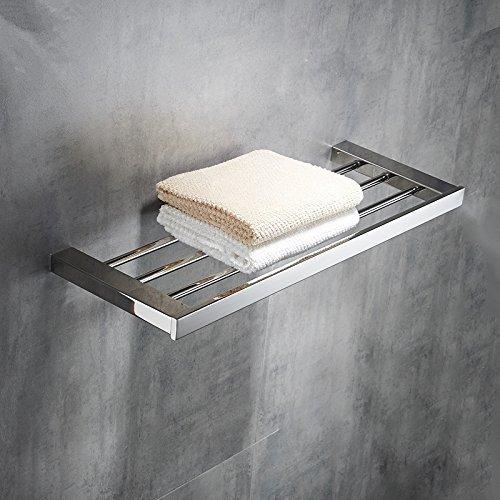 (Hiendure Bath Towel Rack 23 Inch, Towel Shelf Stainless Steel Wall Mount Bathroom Storage Organizer Polished Chrome)