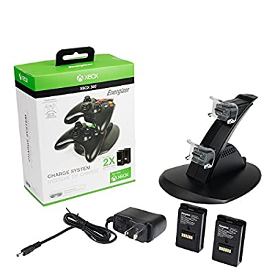 PDP Energizer Xbox 360 Power & Play Controller Charger with Rechargeable Battery Pack for Two Wireless Controllers Charging Station, 037-011-NA