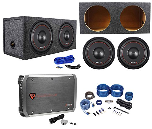 "(2) MB QUART FW1-254 10"" 1200w Subwoofers+Sealed Sub Box+Mono Amplifier+Amp Kit"