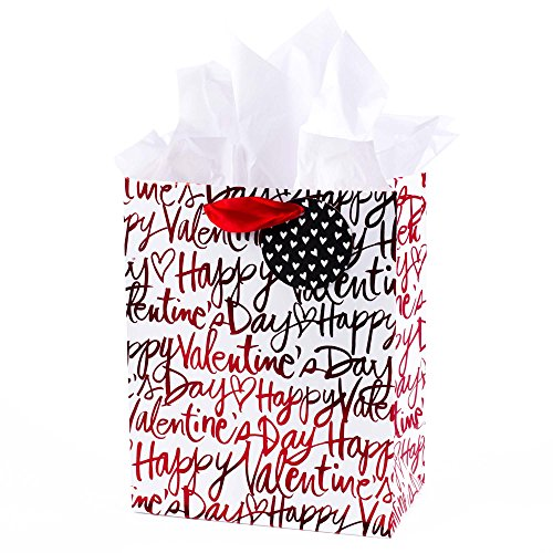Hallmark Medium Valentine's Day Gift Bag with Tissue Paper (Happy Valentine's Day On White) - 5VGB1757