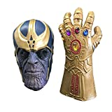 Trippy Lights Thanos Latex Mask and Latex Glove Set for Halloween Costume Teen Adult