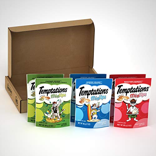 TEMPTATIONS MixUps Cat Treats Variety Pack in Backyard Cookout, Surfer's Delight, and Catnip Fever Flavors, (6) 3 oz. Pouches