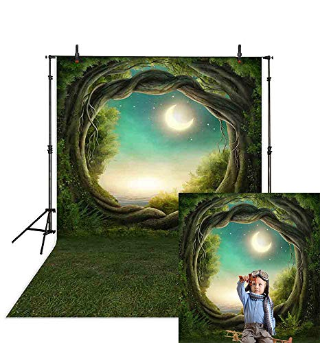 Allenjoy 5x7ft Fairy Tale Forest Dreamy Circular Tree Backdrop Quiet Crescent Moon Stars Woods Night Photography Background Jungle Scouts Adventure Photo Studio Props