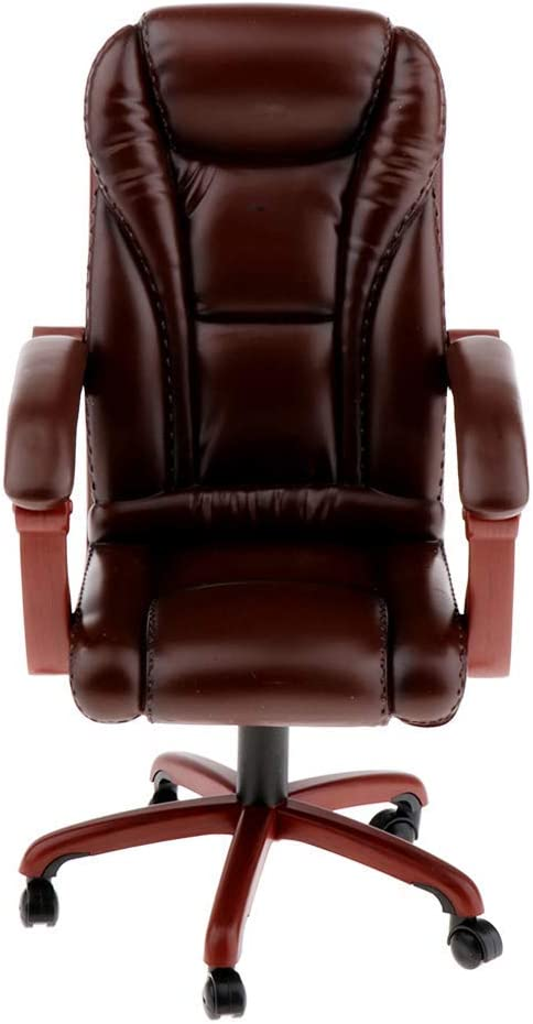 ZSMD 1/6 Chair, Swivel Chair Model, Backrest Chair Toy - Office Swivel Chair Boss, 1/6 Scale Furniture Dollhouse Room Decoration - Brown