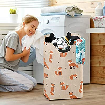 Laundry Basket Cute Cartoon Fox Polka Dot Large Collapsible Dirty Laundry Hamper Bag Tall Fabric Storage Baskets Rectangle Folding Washing Bin Hand Clothes Organizer for Laundry Room,Dorm 53L: Home & Kitchen