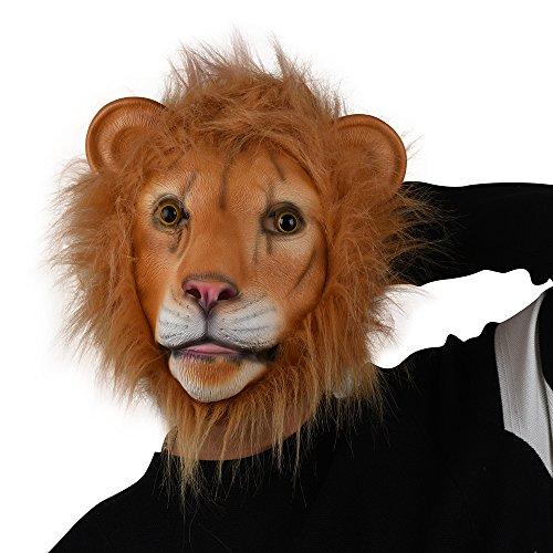 PARTY STORY Lion Mask Latex Head Mask Rubber Animal Mask Novelty Costume Masks