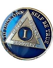 Ranger Industries 1 Year AA Medallion Metallic Midnight Blue Sobriety Chip