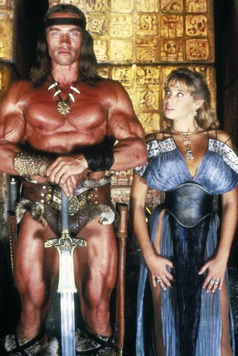 Olivia D'Abo Arnold Schwarzenegger Muscle Pose Conan The Destroyer 24x36 Poster