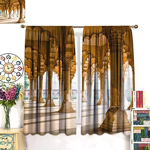 WinfreyDecor Pillar Decor Curtains by Historical Theme Gallery of Pillars at Agra Fort Ethnic Digital ImageBlackout curtainLight Coffee and Beige. W72 x ()