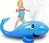 Kleeger Kids Water Sprinkler Toy: 2 in 1 Giant Inflatable Whale Splash Fun
