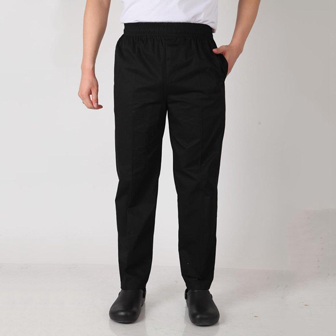 Enerhu Men Elastic Waist Baggy Chef Pants Pockets Hotel/Kitchen/Restaurant/Coffee Uniform Pants Asian M by Enerhu (Image #5)
