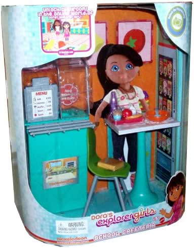 Dora's Explorer Girls School Cafeteria Playset with Cafeteria Background Diorama, Food Display Counter, Cash Register, Table, Chair, Menu, Food Pieces, Bowl, and Spoon Plus Code to Unlock the Pizza Activity on Doralinks (Doll Sold Separately)