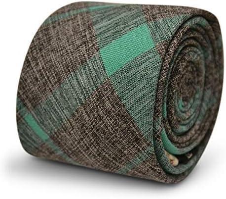 Frederick Thomas Algodón Gris Corbata con Verde Menta Diseño a ...