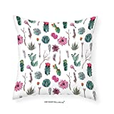 VROSELV Custom Cotton Linen Pillowcase Cactus Decor Vintage Botanical Pattern Arrows Feathers Succulent Twigs Hawaii Spring Tropic for Bedroom Living Room Dorm Multicolor 14''x14