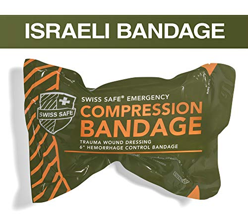 "Swiss Safe Israeli 6"" Compression Bandage [STERILE]: Authentic Compact Design for Emergency Wound Dressing, First Aid and Trauma Kit  (1-Pack)"
