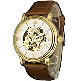 Sewor Golden Skeleton Men's Mechanical Brown Leather Wrist Watch C1119