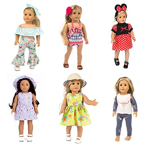 HOAYO 6 Sets Doll Clothes Outfits for 18-Inch American Girl Dolls, 13 Items Girl Doll Clothes and Accessories for 18-inch Dolls