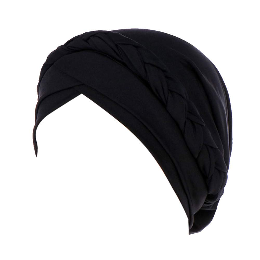 Voberry Womens Swim Cap Bathing Stretch Polyester Turban Head Cover Weaved Pleated Headwrap (Black)