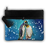 Penguin Couple Double Layers Zipper Cosmetic Bag Makeup Brush Holder Bag