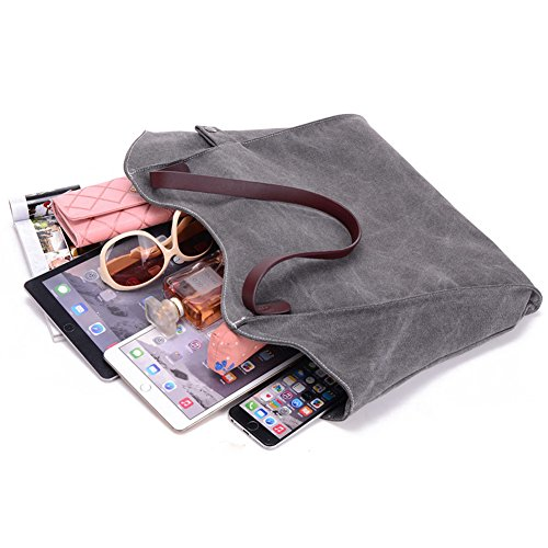 Style Women Students ParaCity Women's SIMPLE Shoulder Gray For Vintage Bag Girls Brown Bag Hobo Shopper SIMPLE Totes Handbag Simple Canvas ZEOwaxOn