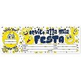 Blocchetto 20 Biglietti - Inviti Per Festa - Soggetto: Emoticon, Smiley, Faccine - party, compleanno