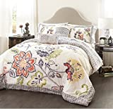 5 Piece Reversible Artful Floral Design Quilt Set King Size, Featuring Colorful Flower Leaf Shabby Chic Bordered Bedding, Contemporary French Country Girls Inspired Bedroom, Blue, Pink, Multicolor