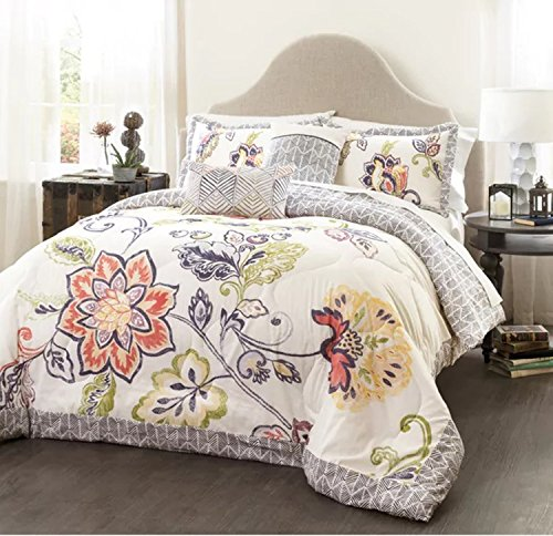 5 Piece Reversible Artful Floral Design Quilt Set Full/Queen Size, Featuring Colorful Flower Leaf Shabby Chic Bordered Bedding, Contemporary French Country Girls Inspired Bedroom, Blue, Pink, Multi by SE