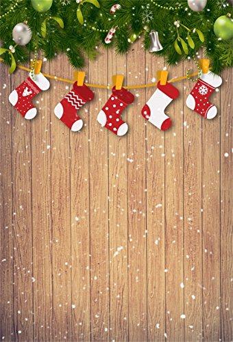 AOFOTO 3x5ft Christmas Backdrops Xmas Stockings Photo Shoot Background Snowflake Wood Floor Photography Studio Props Newborn Infant Baby Children Artistic Portrait Decor Digital Video Drop